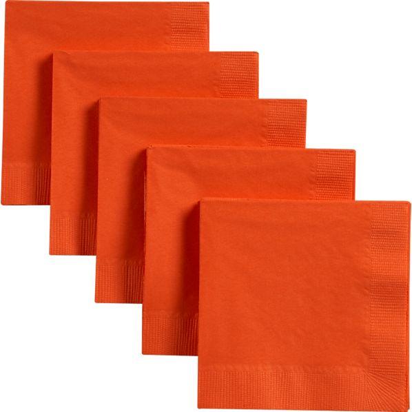 Set of 50 Orange Paper Cocktail Napkins
