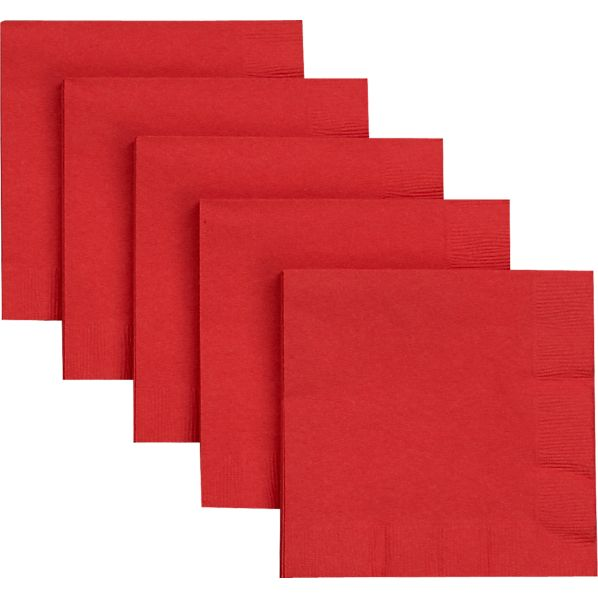 Set of 50 Red Paper Cocktail Napkins