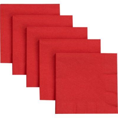 Set of 50 Red Cocktail Napkins