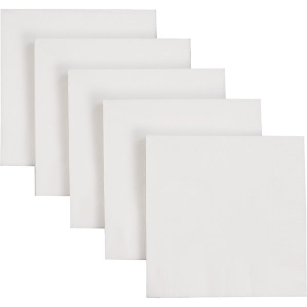 Set of 50 White Paper Cocktail Napkins