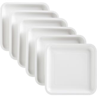 White Deep Paper Luncheon Plates Set of 18