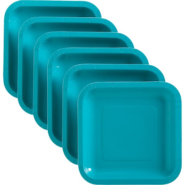 Set of 18 Teal Deep Paper Appetizer Plates
