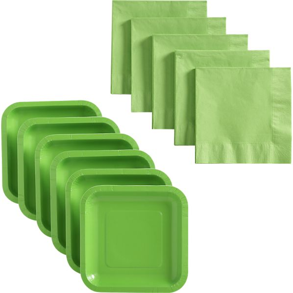 Lime Deep Paper Appetizer Plates Set of 18 and Lime Luncheon Napkins Set of 50