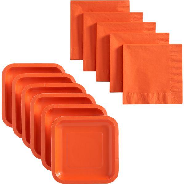 Orange Deep Paper Appetizer Plates Set of 18 and Orange Luncheon Napkins Set of 50