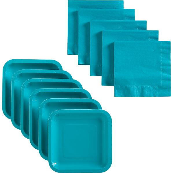 Teal Deep Paper Plates Set of 18 and Teal Luncheon Napkins Set of 50