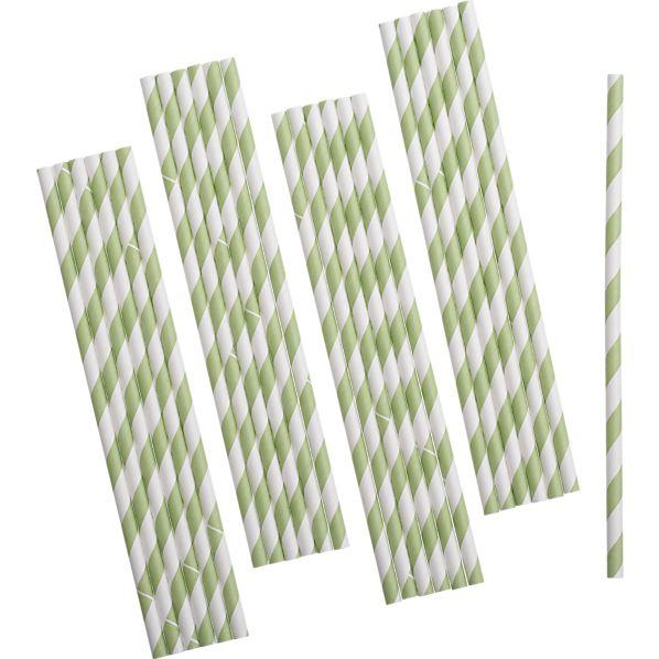 Set of 25 Green Paper Straws