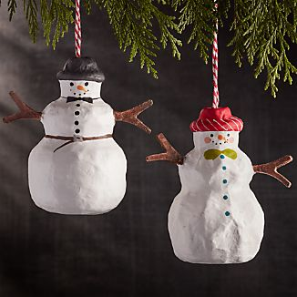 Snowman with Hat Papier-Mâché Ornaments