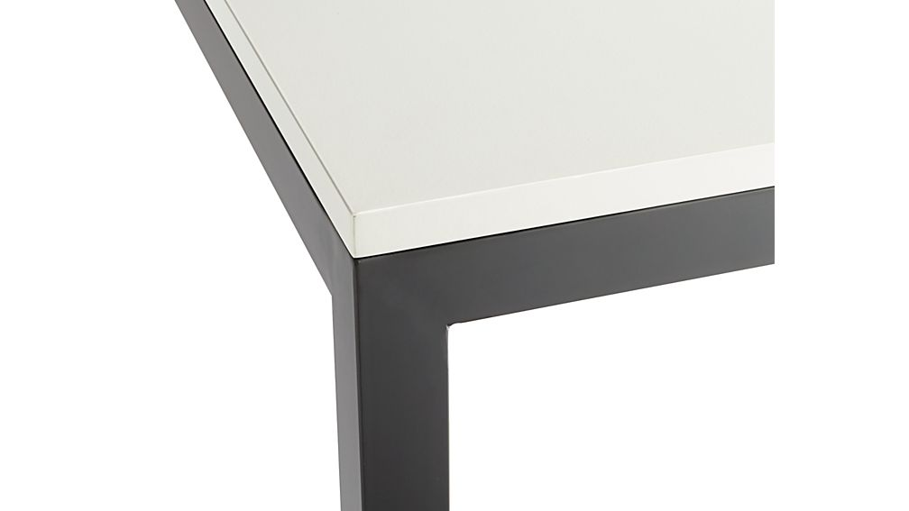 White Top/ Natural Dark Steel Base 48x28 Parsons Dining Table