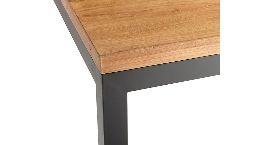 Teak Top/ Natural Dark Steel Base 48x28 Parsons High Dining Table