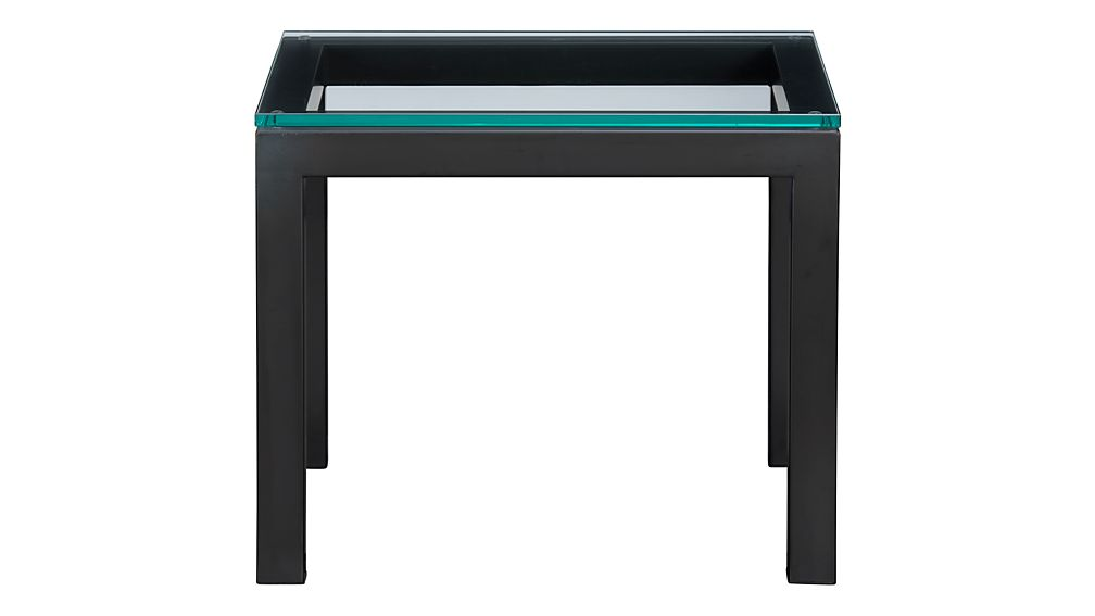 Parsons Dark Steel Side Table with Glass Top