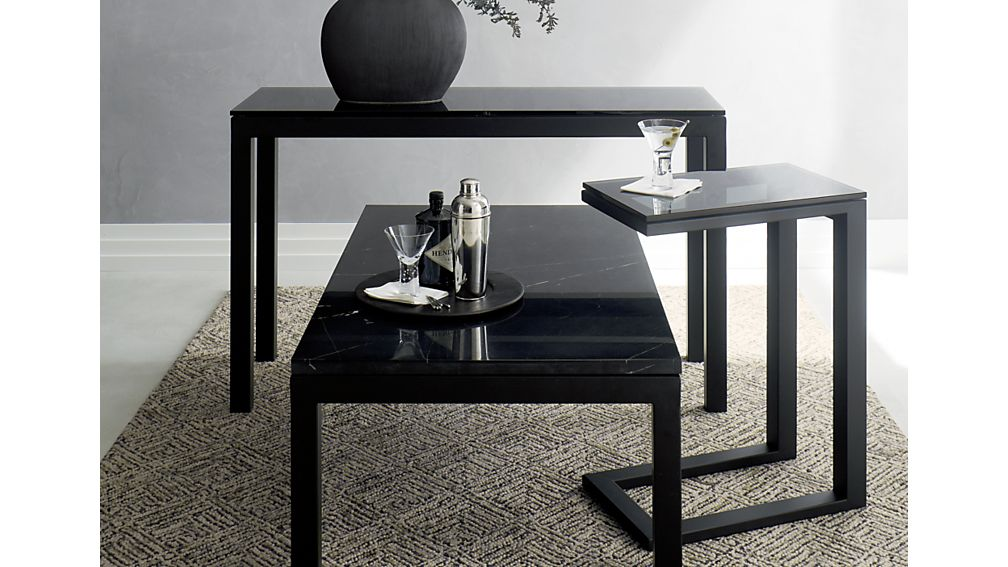 Parsons Rectangular Dark Steel Coffee Table with Black Marble Top