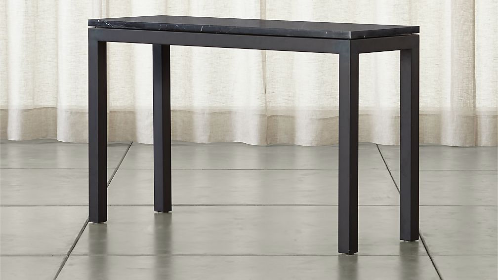 Parsons Dark Steel Console Table with Black Marble Top