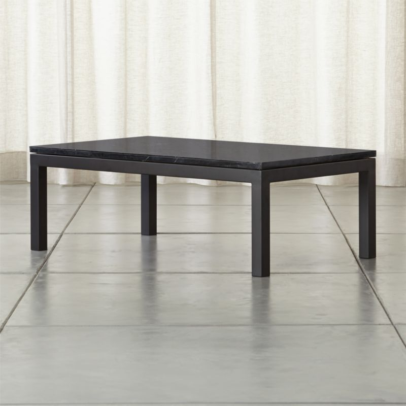 Parsons Rectangular Coffee Table with Black Marble Top