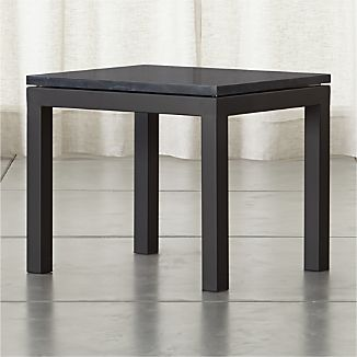 Parsons Dark Steel Side Table with Black Marble Top