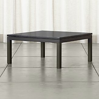 Parsons Square Dark Steel Coffee Table with Black Marble Top