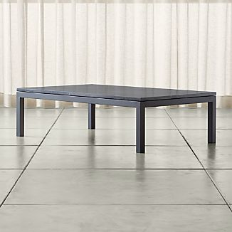 Parsons Large Rectangular Dark Steel Coffee Table with Black Marble Top
