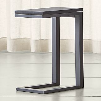 Parsons Dark Steel C Table with Black Marble Top
