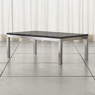Parsons Small Rectangular Stainless Steel Coffee Table with Black Marble Top