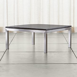 Parsons Square Stainless Steel Coffee Table with Black Marble Top