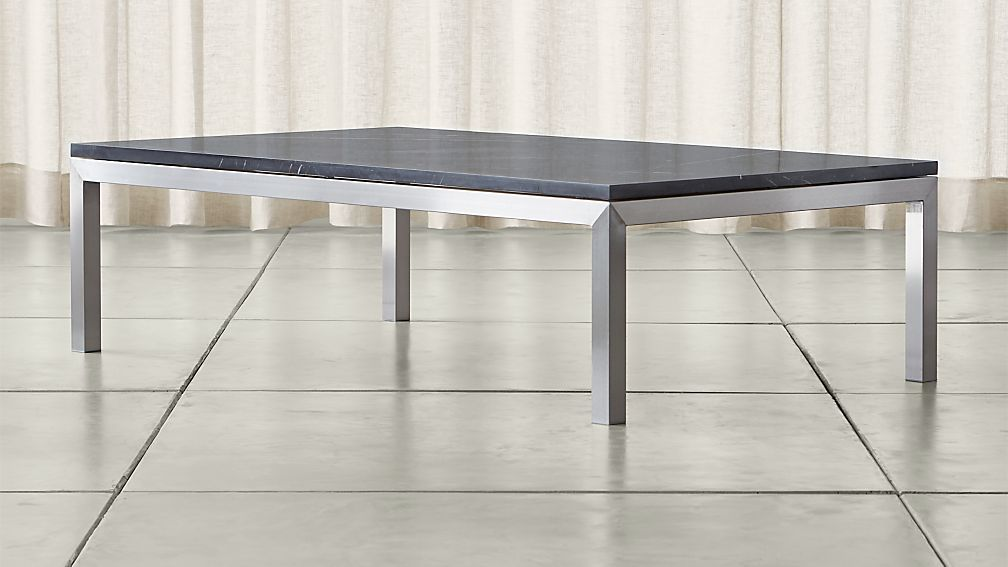 Stainless steel coffee table with black marble top crate and barrel
