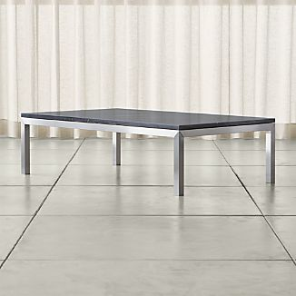 Parsons Large Rectangular Stainless Steel Coffee Table with Black Marble Top