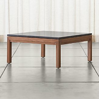 Parsons Square Elm Coffee Table with Black Marble Top