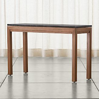 Parsons Elm Console Table with Black Marble Top