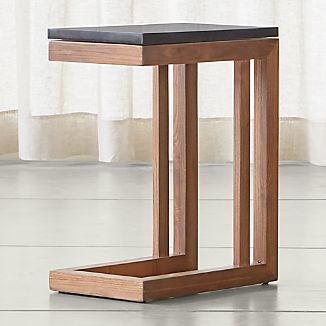 Parsons Elm C Table with Black Marble Top