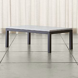 Parsons Small Rectangular Dark Steel Coffee Table with White Marble Top