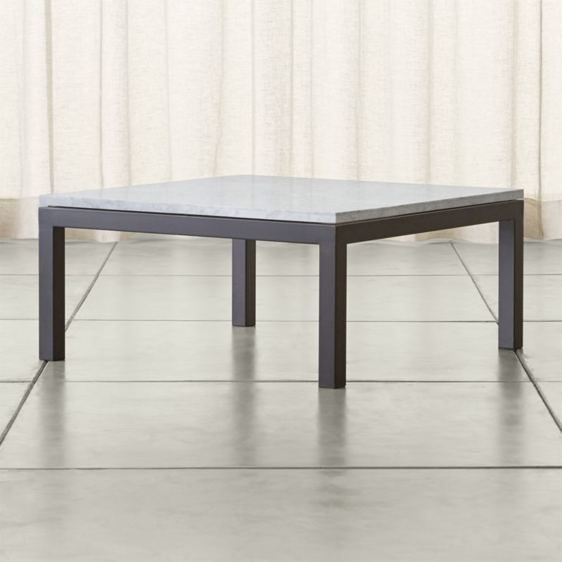 Crate And Barrel Black Marble Coffee Table: Parsons White Marble Top/ Dark Steel Base 36x36 Square