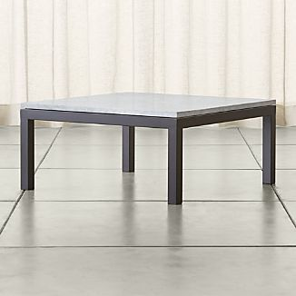 Parsons Square Dark Steel Coffee Table with White Marble Top