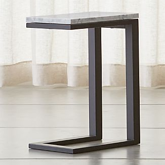 Parsons Dark Steel C Table with White Marble Top