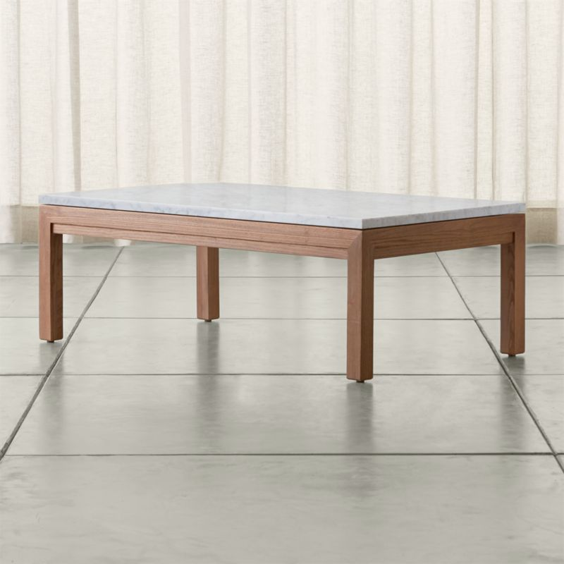 Crate And Barrel Black Marble Coffee Table: Parsons White Marble Top/ Elm Base 48x28 Small Rectangular