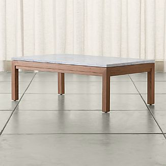 Parsons Small Rectangular Elm Coffee Table with White Marble Top