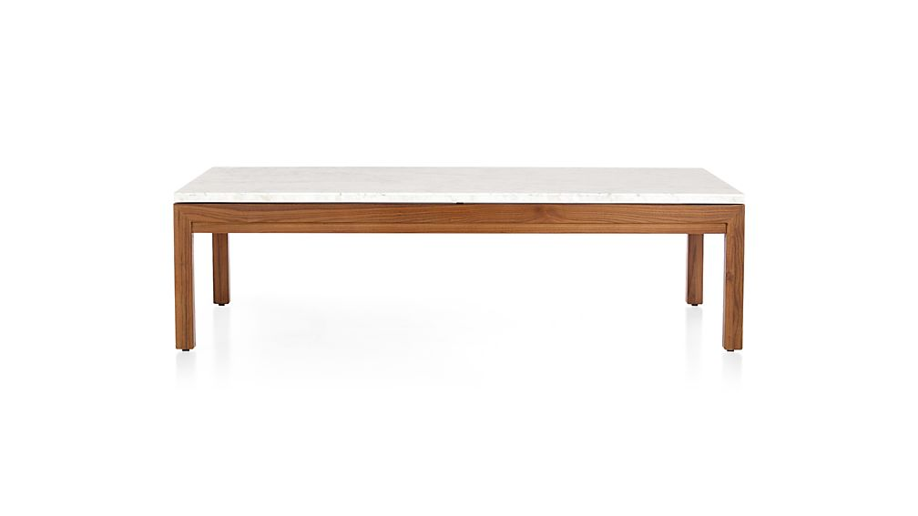 Parsons Large Rectangular Elm Coffee Table With White Marble Top Crate And Barrel