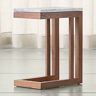 Parsons Elm C Table with White Marble Top
