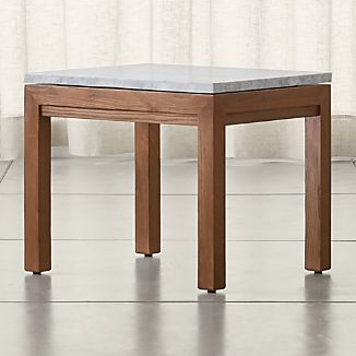 Parsons Elm Side Table with White Marble Top