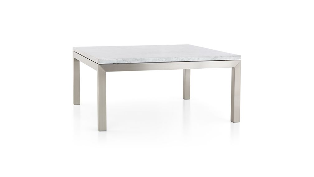 Parsons Square Stainless Steel Coffee Table With White Marble Top Crate And Barrel