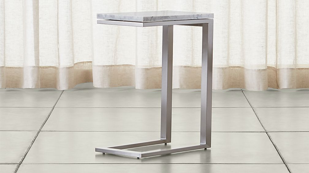 Parsons Stainless Steel C Table With White Marble Top