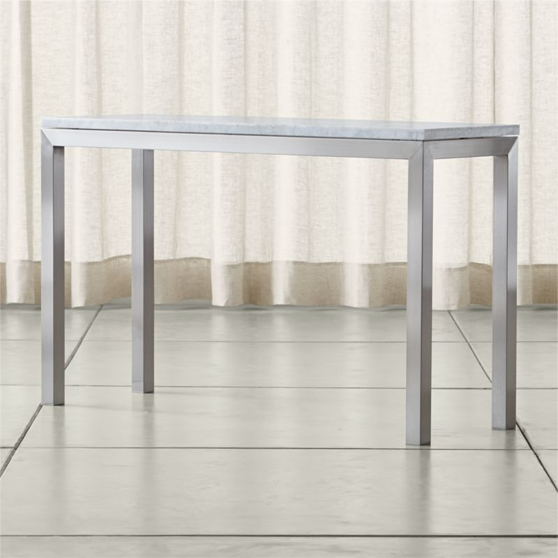 Parsons white marble top stainless steel base 48x16 console crate and barrel - Crate and barrel parsons chair ...