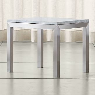 Parsons Stainless Steel Side Table with White Marble Top