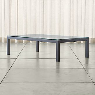 Parsons Large Rectangular Dark Steel Coffee Table with Clear Glass Top