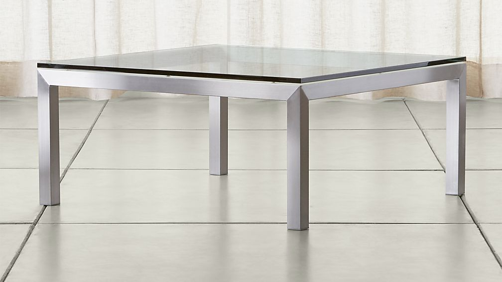 stainless steel coffee table with clear glass top crate and barrel