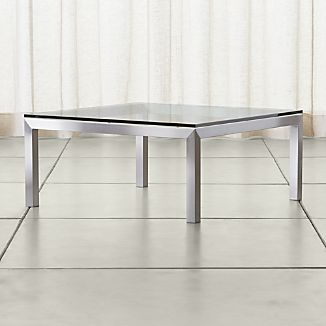 Parsons Square Stainless Steel Coffee Table with Clear Glass Top