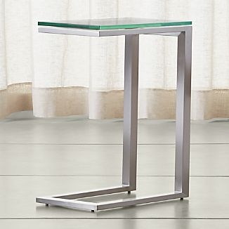 Parsons Stainless Steel C Table with Clear Glass Top