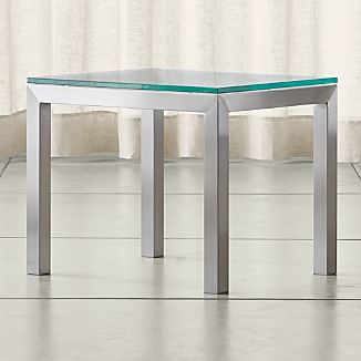 Parsons Stainless Steel Side Table with Clear Glass Top