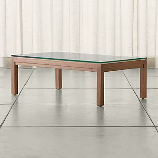 Parsons Small Rectangular Elm Coffee Table with Clear Glass Top
