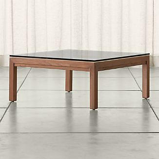 Parsons Square Elm Coffee Table with Clear Glass Top