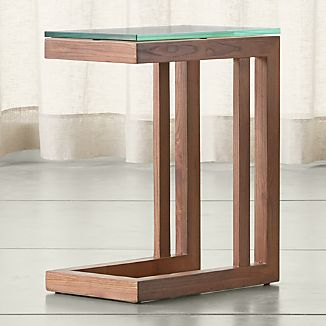 Parsons Elm C Table with Clear Glass Top