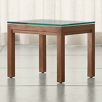 Parsons Elm Side Table with Clear Glass Top